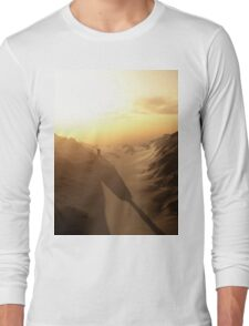 Distant Lonely Tower at Sunset with Dark Shadows Long Sleeve T-Shirt