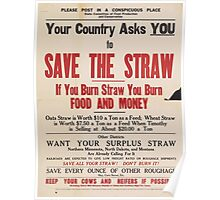 United States Department of Agriculture Poster 0229 Save The Straw Poster