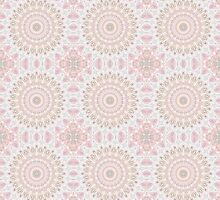 Kaleidoscope Flowers in Pink, Orange and Gray by Mercury McCutcheon