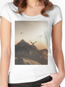 Dragon Peak at Sunset Women's Fitted Scoop T-Shirt