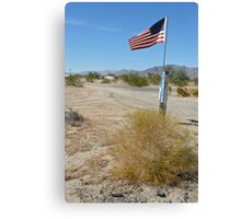 trailer patriot, mojave desert Canvas Print