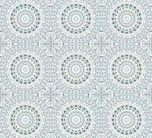 Kaleidoscope Flowers Design in Shades of Blue by Mercury McCutcheon