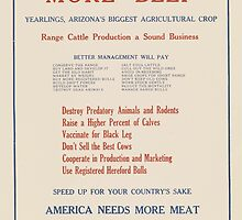 United States Department of Agriculture Poster 0078 More Beef Yearlings Arizona Biggest Agricultural Crop by wetdryvac