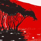 trees at the edge of red by Trevor Pearson