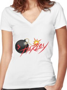 classic Harley Quinn Women's Fitted V-Neck T-Shirt