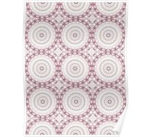 Kaleidoscope Flowers Design in Peach and Mauve Poster