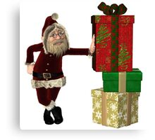 Santa Claus with pile of Christmas Gifts Canvas Print
