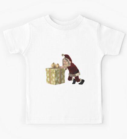 Santa Claus Pushing a Christmas Gift Kids Tee