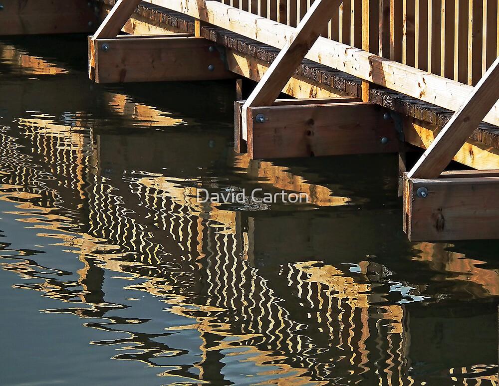 Reflections of a wooden bridge, Slimbridge, Gloucester, UK by buttonpresser