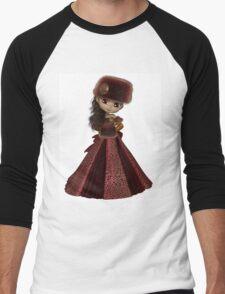 Toon Winter Princess in Red Men's Baseball ¾ T-Shirt