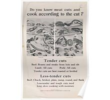 United States Department of Agriculture Poster 0300 Do You KNow Meat cuts and Cook Accordingly Poster