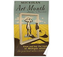 WPA United States Government Work Project Administration Poster 0590 Michigan Art Month Poster