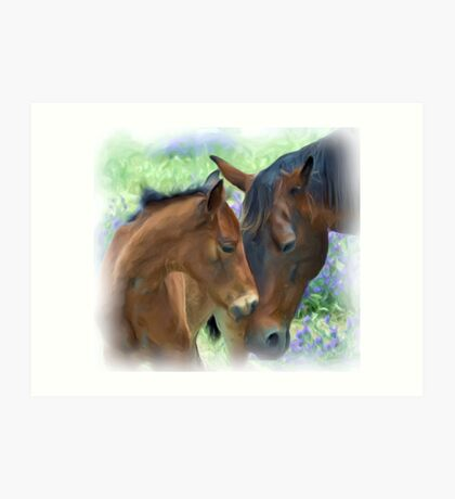Mother and Daughter in Corel Painter Art Print