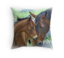 Mother and Daughter in Corel Painter Throw Pillow