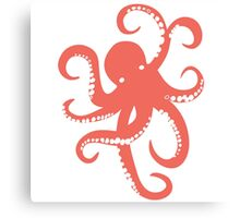 Nautical Coral Red Octopus Illustration Canvas Print