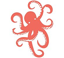 Nautical Coral Red Octopus Illustration Photographic Print
