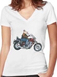 Pa's Hog Women's Fitted V-Neck T-Shirt