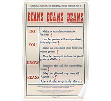 United States Department of Agriculture Poster 0189 Beans Staple Easily Stored Poster