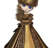 Toon Winter Princess in Gold by algoldesigns