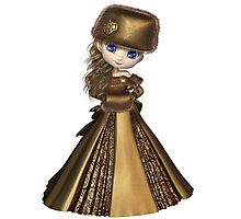 Toon Winter Princess in Gold Photographic Print