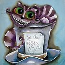 Cheshire Cat on a top hat by StressieCat