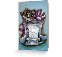 Cheshire Cat on a top hat Greeting Card