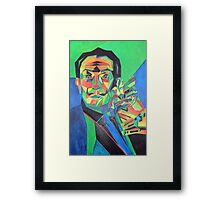 Salvador Dali with Ocelot and Cane Framed Print