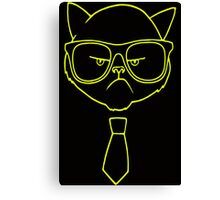 GRUMPY HIPSTER CAT Canvas Print