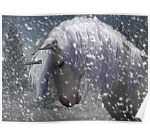unicorn in the snow Poster