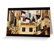 Washing lines Of Corfu Town Greeting Card