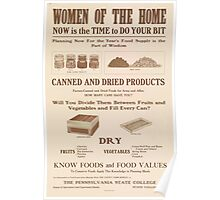 United States Department of Agriculture Poster 0269 Women of the Home Now is the Time to Do Your Bit Canned and Dried Products Poster