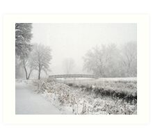 Snowing Bridge Scene 1 Art Print