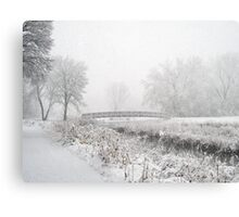 Snowing Bridge Scene 1 Metal Print