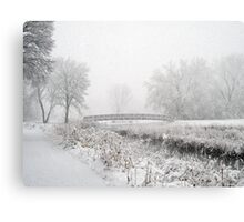 Snowing Bridge Scene 1 Canvas Print