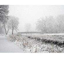 Snowing Bridge Scene 1 Photographic Print