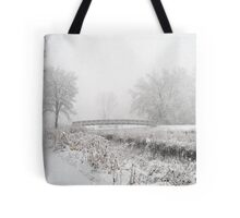 Snowing Bridge Scene 1 Tote Bag