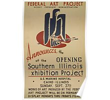 WPA United States Government Work Project Administration Poster 0526 Federal Art Project Souther Illinois Exhibition Poster