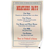 United States Department of Agriculture Poster 0188 Meatless Days Nuts Cheese Milk Raisins Beans Poster