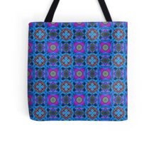 Blue Abstract Quilt Pattern Tote Bag