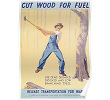 United States Department of Agriculture Poster 0163 Cut Wood for Fuel Release Transportation for War Poster