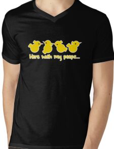 Here with my PEEPS with yellow chicks Mens V-Neck T-Shirt