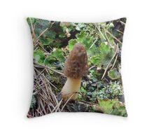 Wild Morel in Lichens Throw Pillow