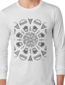 Food Mandala (Color It Yourself) Long Sleeve T-Shirt