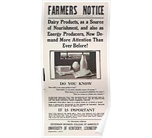 United States Department of Agriculture Poster 0045 Farmer's Notice Dairy Products Poster