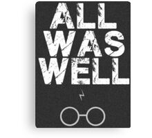 Harry Potter Lightning Bolt & Glasses Typography  Canvas Print