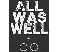 Harry Potter Lightning Bolt & Glasses Typography  Photographic Print
