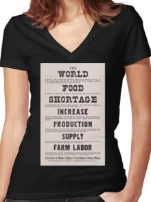 United States Department of Agriculture Poster 0210 World Food Shortage Increase Production Supply Farm Labor Women's Fitted V-Neck T-Shirt