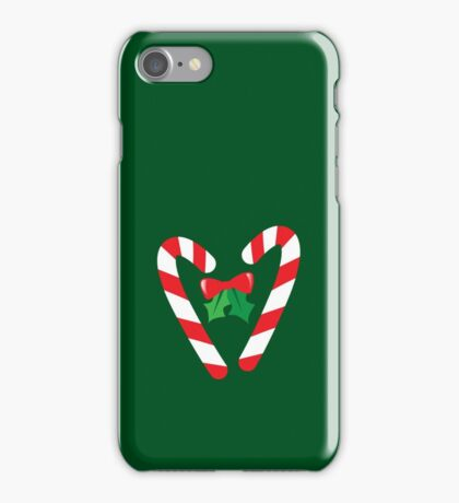 Candy canes candy for Christmas with a bow iPhone Case/Skin