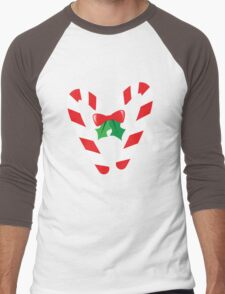 Candy canes candy for Christmas with a bow Men's Baseball ¾ T-Shirt