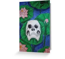 Skull on Lily Pad Greeting Card